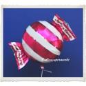 Candy Luftballon aus Folie mit Helium, Fuchsia, Stripes