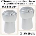 Tischkartenhalter, Champagnerkorken - Silber, 2 Stück