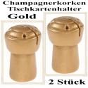 Tischkartenhalter, Champagnerkorken - Gold, 2 Stück