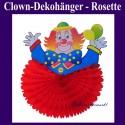 Dekorationshänger Clown mit roter Rosette, 37 cm