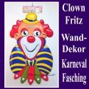 Clown Fritz, Wanddekoration, Bühnendekoration zu Karneval und Fasching