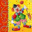 Clown Servietten zum Kindergeburtstag, 20 Stück