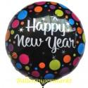 Silvester-Luftballon aus Folie, Happy New Year, Colorful Dots, mit Helium-Ballongas gefüllt
