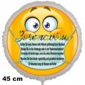 Coronavirus Luftballon mit Schutzmaßnahmen, 45 cm, inklusive Helium-Ballongas