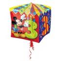 Cubez Luftballon aus Folie mit Helium, Mickey Mouse, 3. Geburtstag, Bunt, Junge