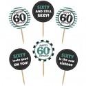 Cupcake Topper Zahl 60, Kuchendekoration zum 60. Geburtstag