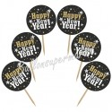 Cupcake Topper Happy New Year, Kuchendekoration zu Silvester, 6 Stück