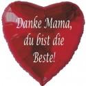 Danke Mama, du bist die Beste! Roter Herzluftballon aus Folie ohne Ballongas-Helium zum Muttertag