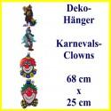 Deko-Hänger mit 4 Clowns, Dekoration zu Karneval und Fasching
