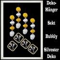 Silvester Dekoration, Deko-Hänger Bubbly Swirls, Sektgläser, 4 Stück