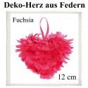 Herz aus Federn, 12 cm, Fuchsia, Dekoration Hochzeit