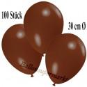Deko-Luftballons, Braun, Latex 30 cm Ø, 100 Stück