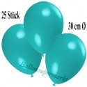 Deko-Luftballons, Türkis, Latex 30 cm Ø, 25 Stück