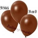 Deko-Luftballons, Metallic, Braun, Latex 30cm Ø, 50 Stück