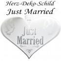Herz-Deko-Schild, Just Married, Dekoration Hochzeit, Herzbanner