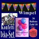 Geburtstagsdeko-Set 3, zum 18. Geburtstag