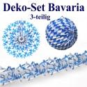 Deko-Set Bavaria, Oktoberfest Dekoration, Blau-Weiß, Bayrische Rauten, 3-teilig