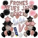 Silvesterdeko-Set mit Luftballons Frohes neues Jahr 2021 Black & Rose Gold, 52-teilig