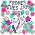 Silvesterdeko-Set mit Luftballons Frohes neues Jahr 2021 Silvestertraum, 54-teilig