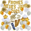 Silvesterdeko-Set mit Luftballons Frohes neues Jahr 2021 White & Gold, 49-teilig