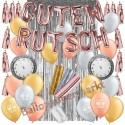 Silvesterdeko-Set mit Luftballons Guten Rutsch Rose Gold, Silver & Gold, 27-teilig