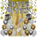 Silvesterdeko-Set mit Luftballons Guten Rutsch Silver & Gold, 35-teilig