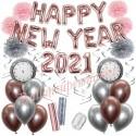 Silvesterdeko-Set mit Luftballons Happy New Year 2021 Rose Gold & Silver, 32-teilig