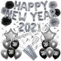 Silvesterdeko-Set mit Luftballons Happy New Year 2021 Black & Silver, 32-teilig