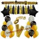 Silvesterdeko-Set mit Luftballons Happy New Year Black & Gold, 23-teilig