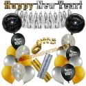 Silvesterdeko-Set mit Luftballons Happy New Year Glamour, 23-teilig