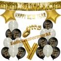 Silvesterdeko-Set mit Luftballons Happy New Year Gold, 23-teilig