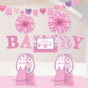 Dekorations-Set Shower with Love Girl, Dekoration zur Babyparty Mädchen