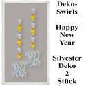 Silvester Dekoration, Deko-Hänger Prismatik-Wirbler Happy New Year, 2 Stück