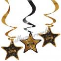 Silvesterdeko Swirls Happy New Year, 3 Stück Deko-Wirbler, gold-schwarz