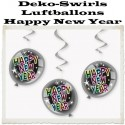 Silvester Dekoration, Deko-Hänger Luftballons Swirls Happy New Year, 3 Stück