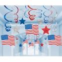 USA Wirbler-Dekoration, Partydekoration Mottoparty Stars & Stripes, 30 Stück Deko-Swirls