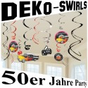 50er Jahre Wirbler-Dekoration, Partydekoration Mottoparty Fifties, 12 Stück Deko-Swirls