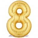 Zahlen-Luftballon aus Folie, 8, Acht, Gold, 100 cm groß