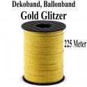 Ballonband, Dekoband, 1 Rolle 225 m, Gold Glitter