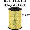 Ballonband, Dekoband, 1 Rolle 225 m, holografisch Gold