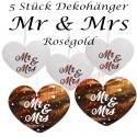 Hängedekoration, Mr and Mrs, Rosegold, 5 Stück