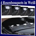 Autodekoration Hochzeit, 4 Rosen-Bouquets für das Hochzeitsauto, Weiß