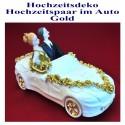 Hochzeitsdekoration, Brautpaar im Hochzeitsauto, gold