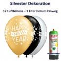 Silvester Dekoration, 12 Luftballons Happy New Year mit 1 Liter Helium-Einweg