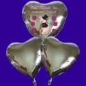 """Silvester-Bouquet, 2 silberne Herzballons, 1 silberner Herzballon """"Viel Glück im neuen Jahr"""" mit Helium, Silvesterdekoration 2016"""