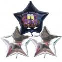 Silvester-Bouquet, 2 silberne Sternballons, 1 schwarzer Sternballon, mit Helium, Silvesterdekoration 2021