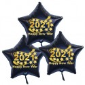 Silvester-Bouquet, 3 schwarze Sternballons, 2021 Happy New Year, mit Helium, Silvesterdekoration