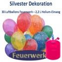 Silvester Dekoration, 30 Luftballons Feuerwerk mit 2,2 L Helium-Einweg