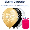 Silvester Dekoration, 30 Luftballons Happy New Year mit 2,2 L Helium-Einweg