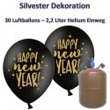 Silvester Dekoration, 30 Luftballons Happy New Year, schwarz-gold, mit 2,2 L Helium-Einweg